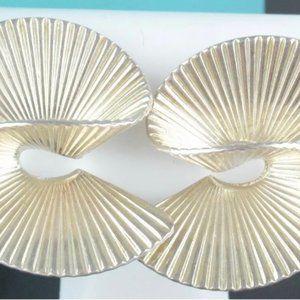 Tiffany Silver Twist Swirl Ribbon Fan Earrings